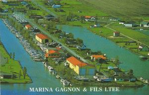 Aerial View of Marina Gagnon & Fils Ltee, Lac Champlain, Quebec, Canada, PU-1989