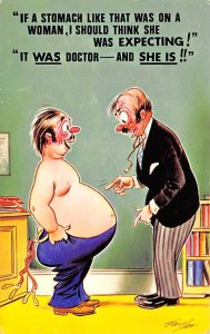 Man With A Fat Belly Cartoon Occupation, Doctor Unused