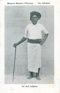 South Pacific Oceania Solomon Islands Types Native Chief Chef Indigene