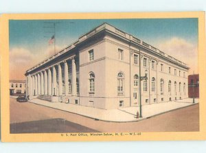 Linen POST OFFICE SCENE Winston-Salem North Carolina NC AF0962
