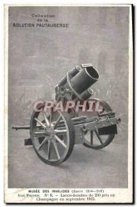 Old Postcard Militaria Paris Musee des Invalides Lance bombs 250