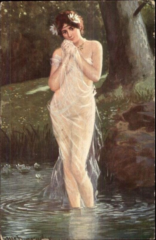 Beautiful Woman Nude Covered by Sheer Material in Water c1910 Postcard