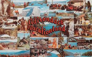 Adirondack Mountains Vacationland~New York~Multi Mini Scenes~1962 Postcard