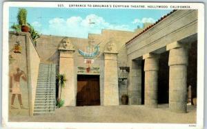 Hollywood, California Postcard GRAUMAN'S EGYPTIAN THEATRE w/ 1927 Cancel!