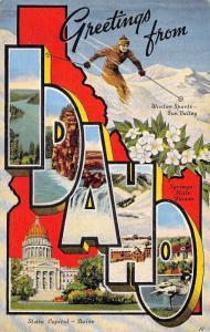 IDAHO 1948 Linen LARGE LETTER Greetings Postcard Skiing Sun Valley