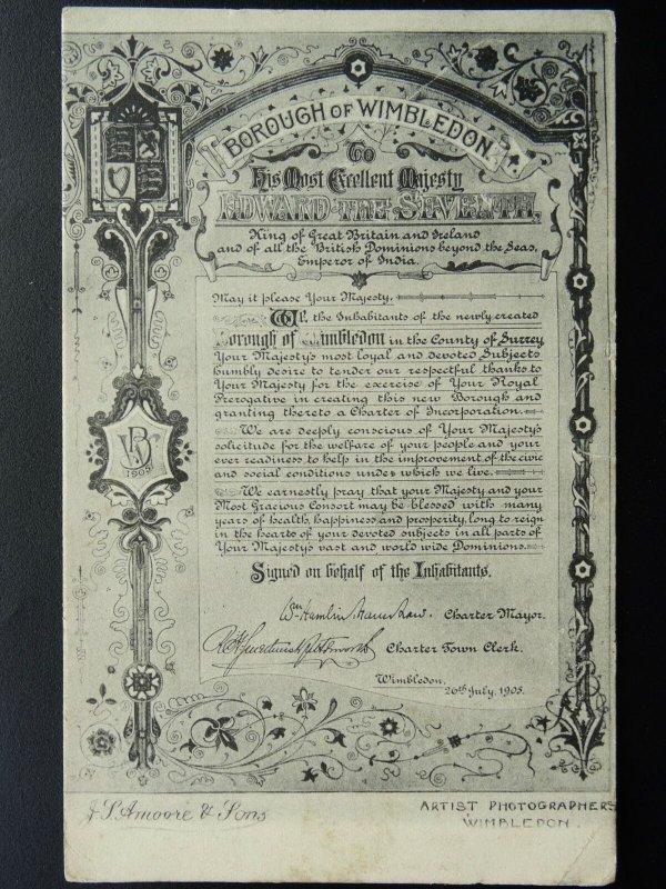 London Surrey WIMBLEDON INHABITANTS Charter to KING EDWARD VII c1905 Postcard