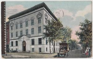 1908 MARION Indiana Ind Postcard YMCA Building TRUCK Grant County