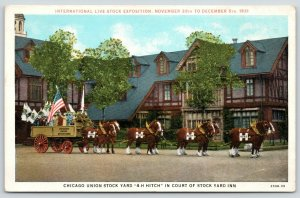 Chicago IL~Stock Yard Inn Hotel~4-H Hitch Team~Kids in Wagon~Dec 1931 Int'l Expo