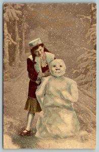 BB London Christmas~Victorian Girl in Woods Built Snowman~Snowfall~Colorized Gel