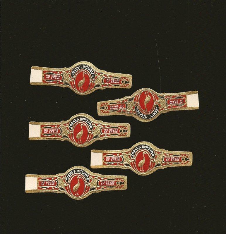 Vintage Lot of 5 Cranes Imported Cigar Bands Unused