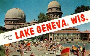 Wisconsin Greetings From Lake Geneva Showing Municipal Bathing Beach and Yerk...