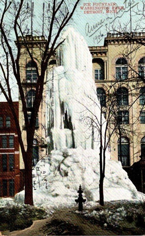 MIchigan Detroit Washington Park Ice Fountain 1906