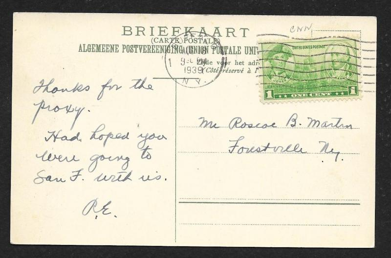 NETHERLANDS Stamps on Postcard Coat of Arms Used c1939