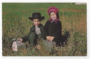 Amish Children Mennonite Postcard Lancaster Bonnet Clothing