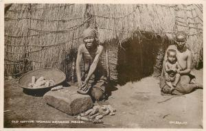 South Africa ethnic zulus zulu old native woman grinding maize photo postcard