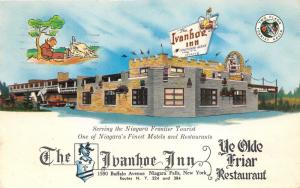 Niagara Falls New York~Ivanhoe Inn & Ye Olde Friar Restaurant~1961 Postcard