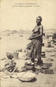 morocco, Native Senegalese Woman prepairing Dinner (1916) P. Grébert