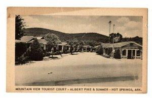 Hot Springs Arkansas Postcard Mountain View Tourist Court Pike & Summer St#75561