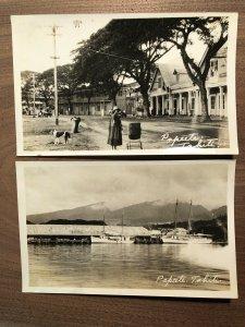 1920s RPPC Papeete Tahiti Street Scene Naval Ships Photos Lot of 2
