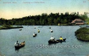 Canoeing, Charles River Boston MA postal used unknown