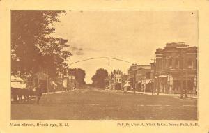 Brookings South Dakota~Main Street~Restaurant~Hanging Light on Arch~1913 PC
