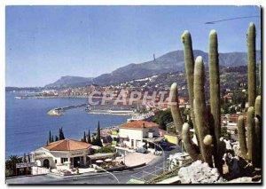 Postcard Moderne Menton View Generlae New Port Vue Prize of La Frontiere Ital...