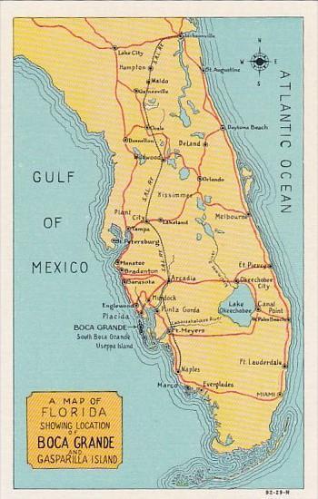 Florida Map Showing Boca Grande and Gasparilla Island Curteich