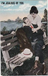 Romantic Couple On Park Bench I,m Jealous Of You