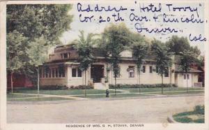 Colorado Denver Residence Of Mrs G H Stover 1910