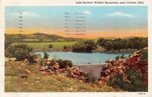 Lawton Oklahoma~Lake Burford in Wichita Mountains~Man Walking on Dam~1945 PC