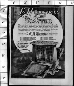 1924 L&H Electrics Turnsit Toaster Appliance Vintage Print Ad 4007
