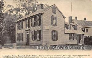 Hancock - Clark House, John Hancock & Samuel Adams Lexington, Mass Postcard P...