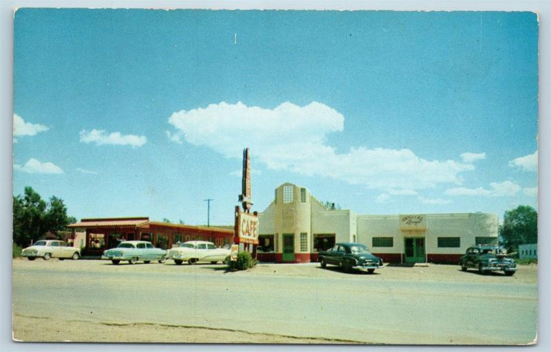 Postcard NM Raton Crystal Cafe Restaurant Motel Cocktail Lounge 1950s Cars M10