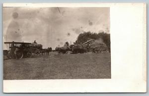 Real Photo Postcard~Farming~Steam Tractor & Threshing Machine~Farmers~1912 RPPC