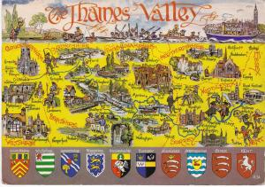 Post Card illustrated map The Thames Valley Lilywhite