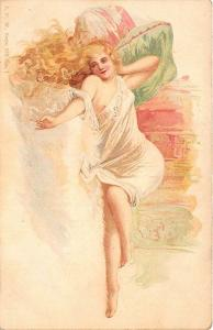 Exotic Partial Nude Signed J. P. W. Postcard