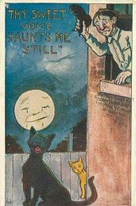 Artist impression Black Cat Mppm Howling Comic Humor 1907 Postcard 10957