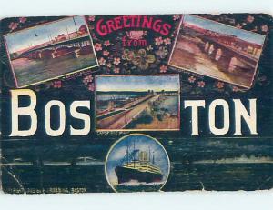 Divided-Back BIG LETTERS Boston Massachusetts MA ho7192