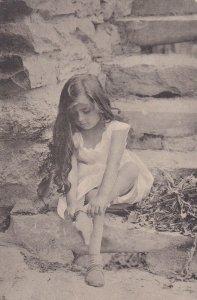 LIttle Girl putting her sock on, PU-1908; TUCK #1016