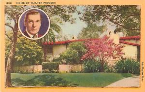 Linen Card of Home of Walter Pidgeon Los Angeles? California