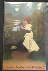 "Vintage Postcard Used Moon Kissing Couple ""I saw this the...""  LB"