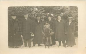Family Photo~Old Folks in Snow~Lil Girl Fur Coat & Muff~Ladies Hats!~1908 RPPC