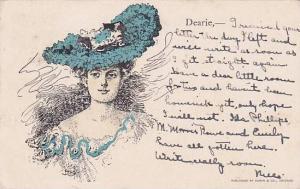 Woman wearing blue hat, PU-1906