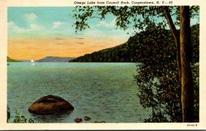New York Cooperstown Otsego Lake From Council Rock 1956 Curteich