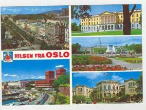 OSLO, 5-View, Hilsen Fra, Aerial View, Town, Fountain, Public Places, Norway,...