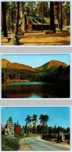 3 Postcards MANZANITA LAKE LODGE, Entrance, Lake in Lassen County, California CA