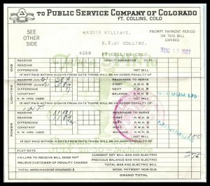 1927 Billhead / Receipt - Public Service Co of Colorado, Fort Collins A2