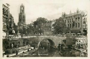 Netherlands Utrecht real photo postcard bridge cathedral tower in distance