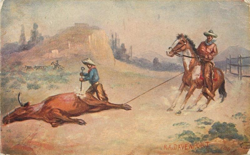 R A Davenport~Western Cowboy Artist~Branding a Steer~Roped From Horse~Butte~1909