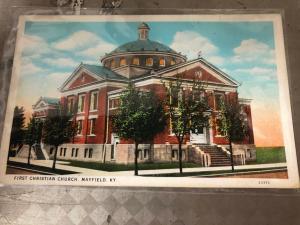 Mayfield Kentucky First Christian Church Street View Antique Postcard K83086